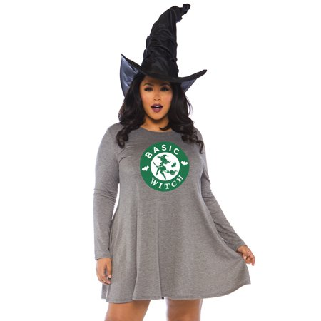 Women's Plus Size Basic Witch Halloween Dress, Grey, 3X-4X (Halloween Witch Hair Ideas)