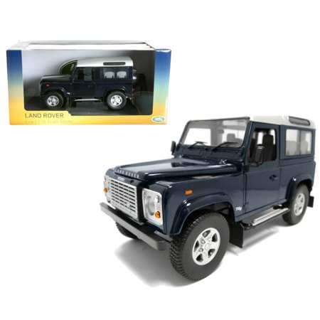 Land Rover Defender 90 Station Wagon Blue with Silver 1/18 Diecast Model Car by Universal