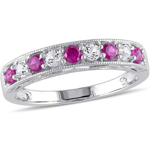 7/8 Carat T.G.W. Created Ruby and Created White Sapphire Fashion Ring in Sterling Silver