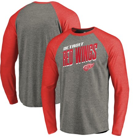 b9d00081d Detroit Red Wings Fanatics Branded Slant Strike Tri-Blend Raglan Long  Sleeve T-Shirt - Heathered Gray