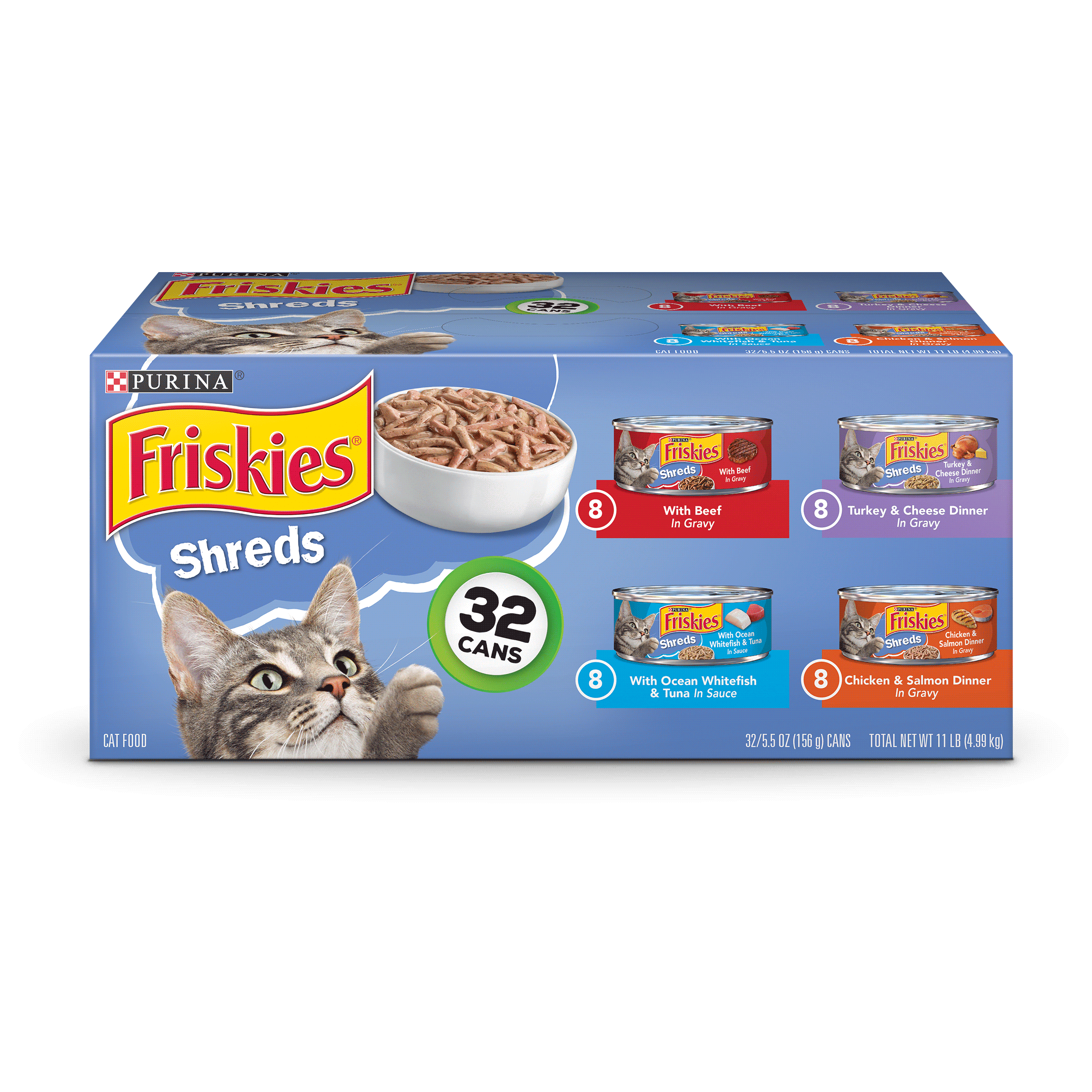 Friskies Savory Shreds Adult Wet Cat Food Variety Pack (32) 5.5 oz. Cans by Nestle Purina Petcare Company