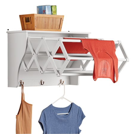 Collections Etc Accordion Expandable Wall Mounted Laundry Drying Rack With Shelf Small