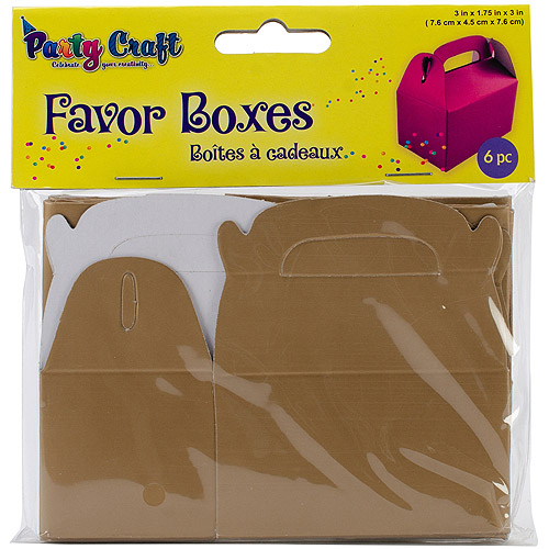 "Favor Boxes, 3"" x 1.75"" x 3"", 6pk"