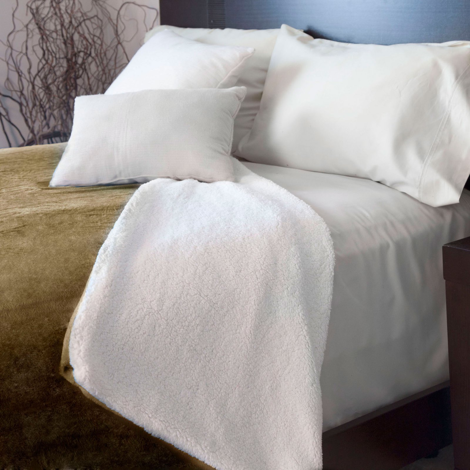 Lavish Home Fleece Blanket with Sherpa Backing