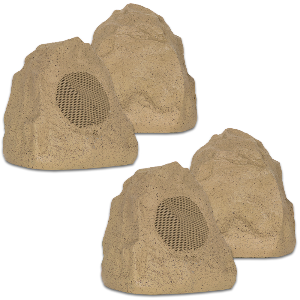 Theater Solutions 4R4S Outdoor Sandstone Rock 4 Speaker Set for Yard Patio Pool Spa