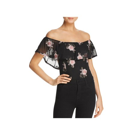 Band of Gypsies Womens Embroidered Off-The-Shoulder Bodysuit