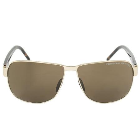 Porsche Design Design P8633 B 61 Aviator Sunglasses for Men | Matte Gold Titanium Frame | Brown (Porshe Design Sunglasses)