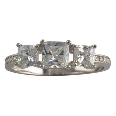 Sterling Silver Three Stone Princess Cut CZ Womens Ring 925 Ladies Band Size 5