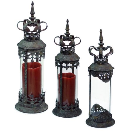 Set of 3 Renaissance Style Distressed Crown Top Cylinder Pillar Candle (Crown Pillar)