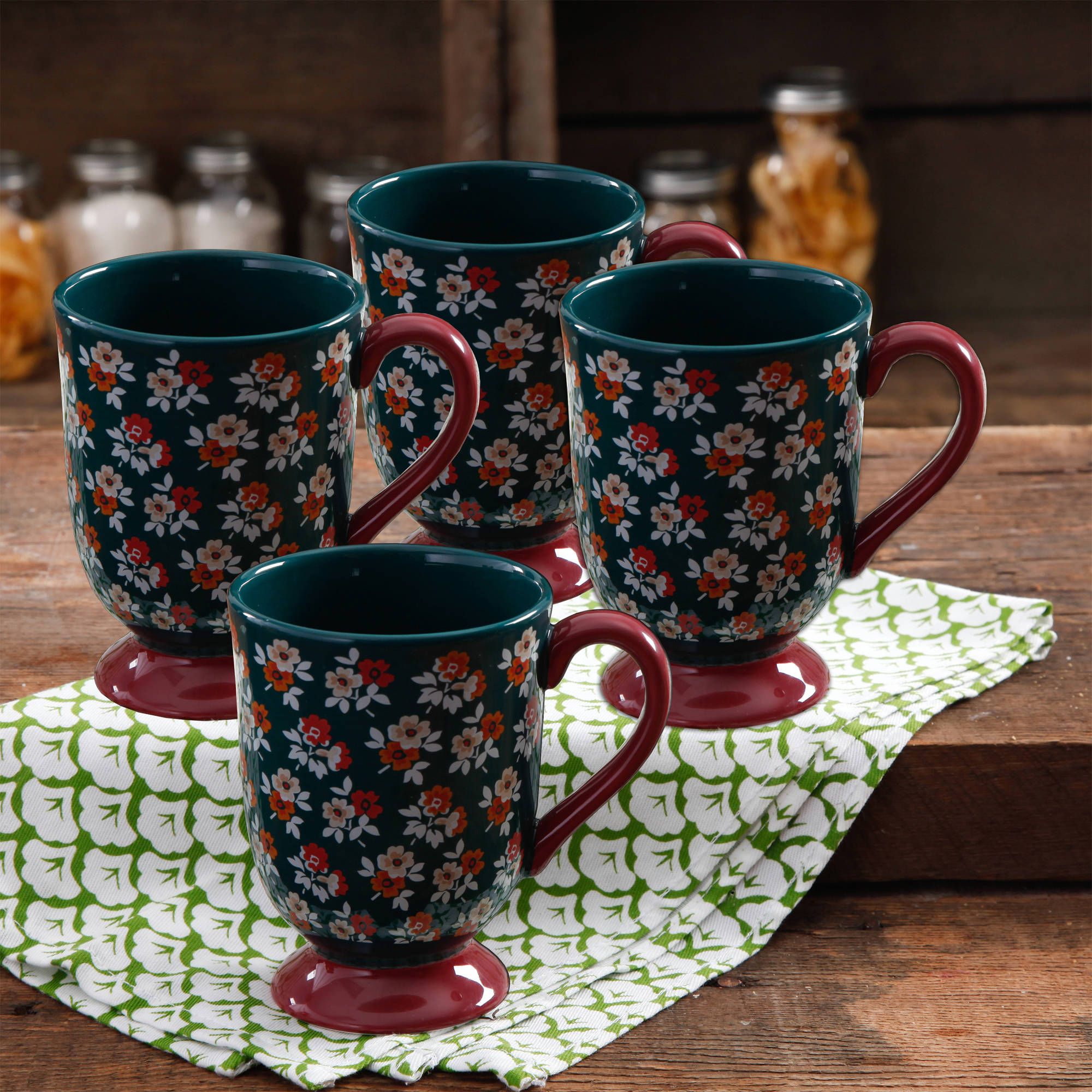 The Pioneer Woman Fall Flowers 18-Ounce Latte Mug Set, 4-Pack
