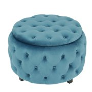 Adeco FT0276-BLUE Round Storage, Fabric Foot Rest and Seat, Modern Button Tufted, Wood Legs, Height 18 Inch Ottomans & Storage Ottomans (Blue)