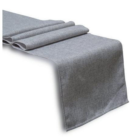Aiking Home Solid Faux Linen Unlined Table Runner 13 By 90 inches - Grey