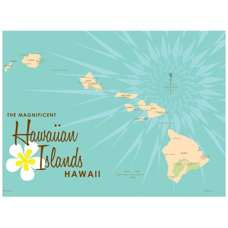 Hawaiian Islands Turquoise Map Vintage-Style Art Print by Lakebound on mauna loa, french polynesia map, oahu map, diamond head, james cook, hawaiian language, honolulu map, caribbean islands map, waikīkī, kauai map, hawaiian island chain, new zealand map, aleutian islands map, tropical island map, necker island, hawaiian island colors, midway atoll, tasmania map, hawaii map, maui map, pacific islands map, big island map, bahamas map, austria map, ford island map, mauna kea, new caledonia map, japan map,