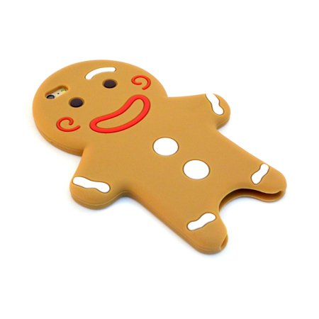 Silicone 3D Gingerbread Man Cartoon Mobile Back Case Protective Cover for iPhone 6 Plus, (Most Real 3d Mobile)