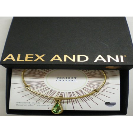 (Alex and Ani August Birth Month Charm Bangle With Swarovski Crystal Teardrop Shape Rafaelian Gold)