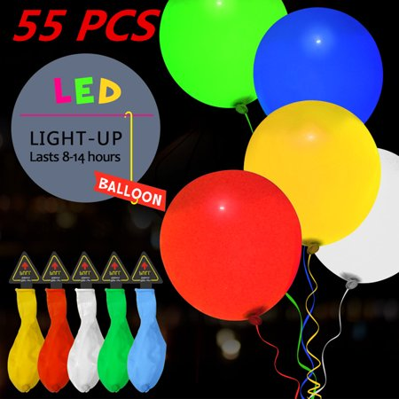 55 Pcs Led Balloons Glow Party Balloon Flash Lights Mixed Color