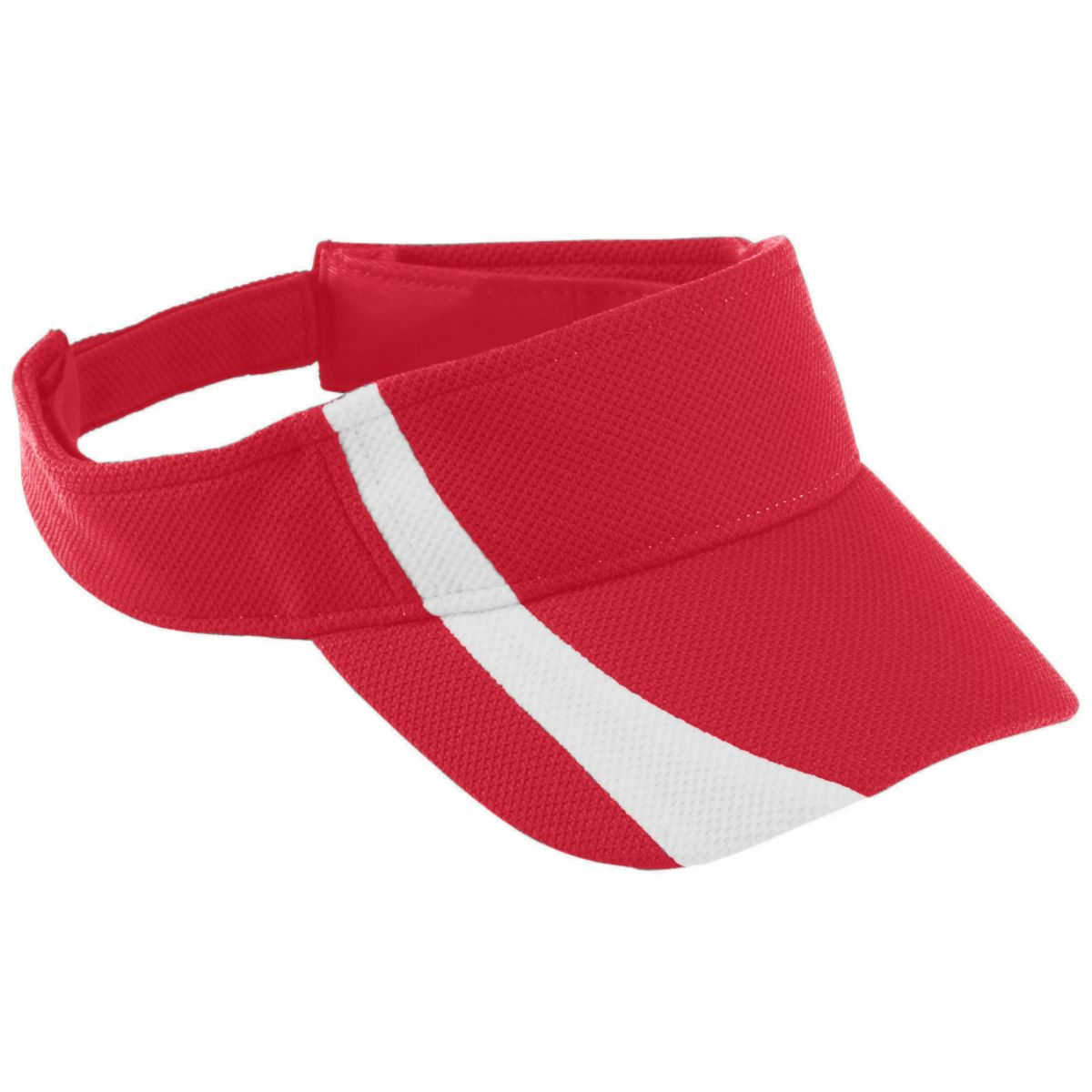 Augusta Sportswear Adjustable Wicking Mesh Two-Color Visor, Red White, One Size
