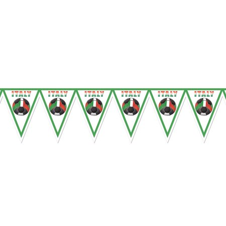"Pack of 6 Red, Green and White ""Italy"" Soccer Themed Pennant Banner Party Decorations 7.4'"