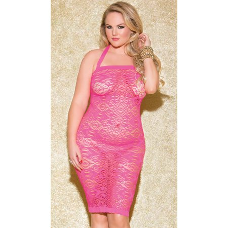 Plus Size Fun Games Hot Pink Chemise, Plus Size Pink Lace Chemise