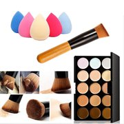 Usstore Concealer Contour Palette + Water Sponge Puff + Makeup Brush Makeup Face Powder Blusher Toothbrush Curve Foundation Brush For Women Lady