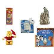 "Christmas Fun Gift Bundle [5 Piece] - Xmas Ornamentbooks: Grandfather's Nativity, Reindeer - Silver Glitter Nativity Scene - Acrylic Snowflake ""For You"" Coaster Set of 2 - Dan Dee Winnie The Pooh Sa"