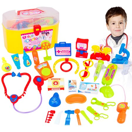 30 Pieces Pretend Doctor Play Set with Stethoscope and Medical Doctor's Equipment Educational Toys - Color - Toy Stethoscope