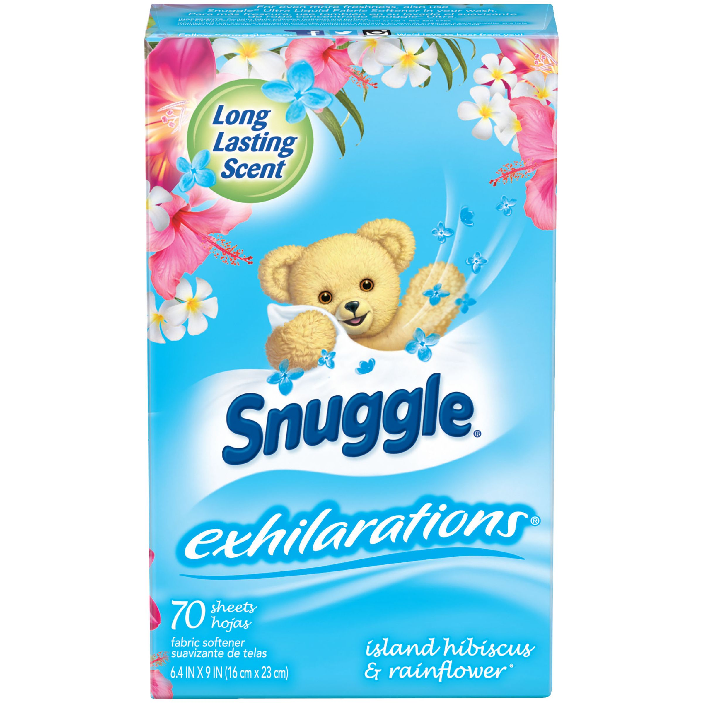 Snuggle Exhilarations Fabric Softener Sheets, Island Hibiscus & Rainflower, 70 Count