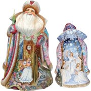G.Debrekht 24116 Woodcarving To The Land of Snow Santa 13 in. - Woodcarved Santa