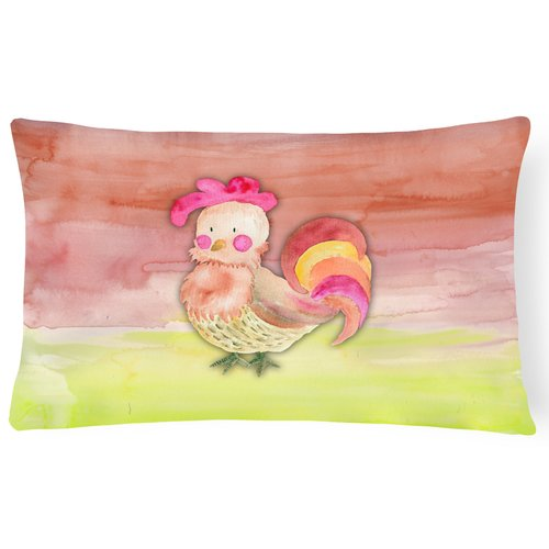 Zoomie Kids Trinity Rooster Watercolor Lumbar Pillow