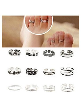 12pcs Celebrity Fashion Simple Sliver Carved Flower Toe Ring Jewelry C