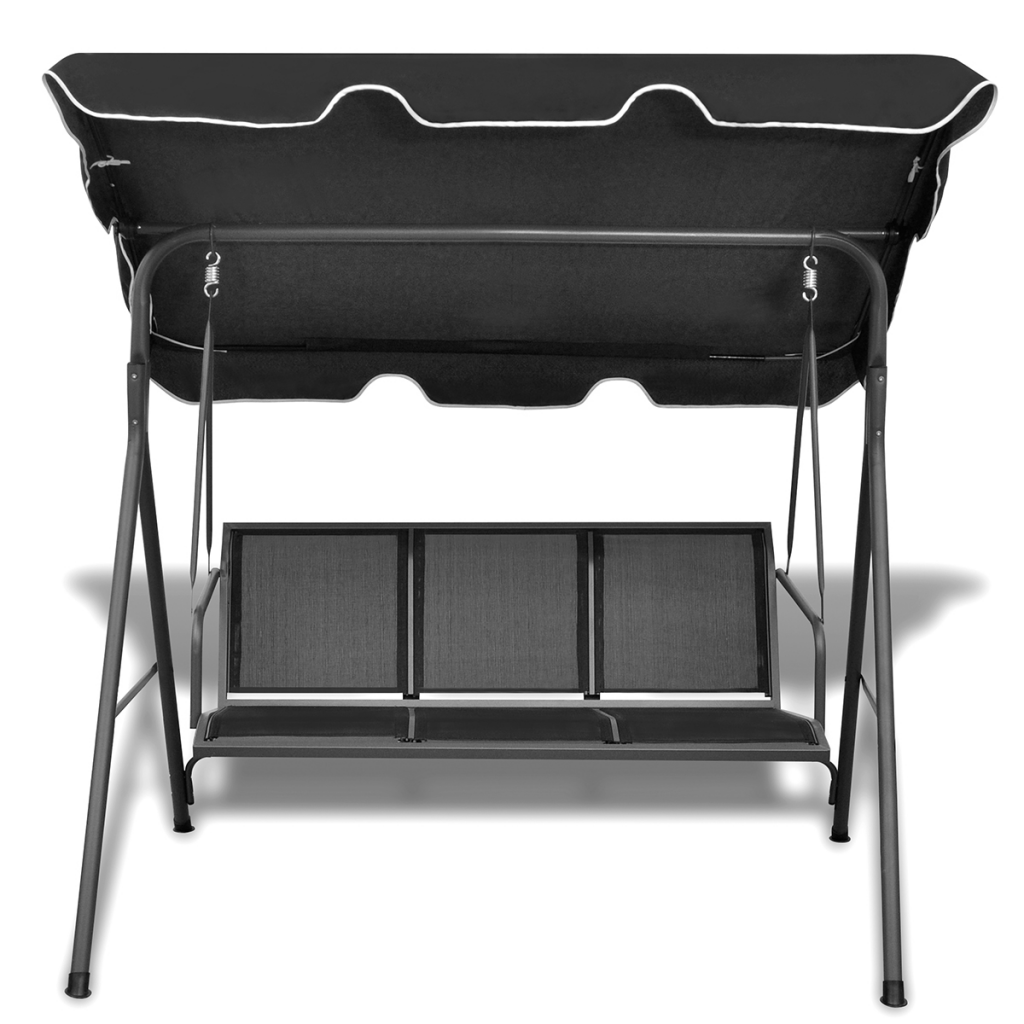 Outdoor 3-Person Swing Canopy - Black