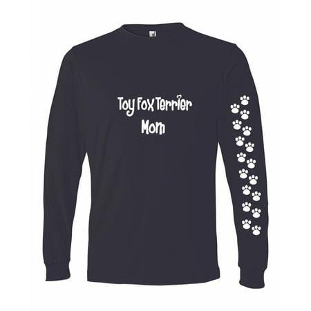 Wire Fox Terrier T-shirt - Fox Terrier Toy Mom Tshirt Ladies Cut Blue Long Adult Small