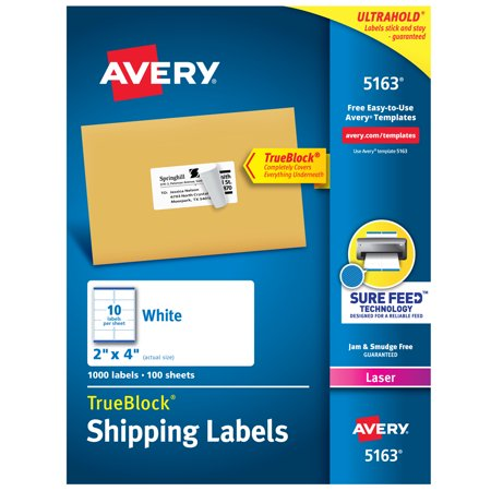 Archival Permanent Labels (Avery TrueBlock Shipping Labels, Sure Feed Technology, Permanent Adhesive, 2