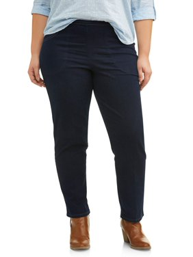 Just My Size Women's Plus Size Pull on Stretch Woven Pants, Also in Petite