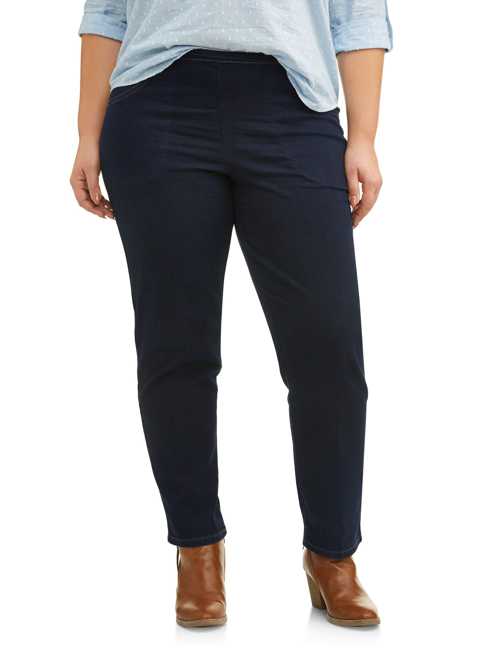 Women's Plus-Size 2-Pocket Stretch Pull-On Pants