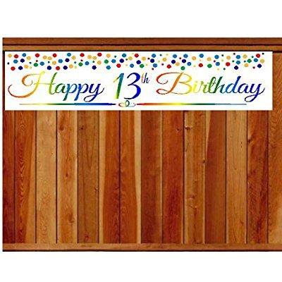 Birthday Decoration Items (cakesupplyshop item#013rpb happy 13th birthday rainbow wall decoration indoor / outdoor party banner (10 x)