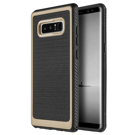 Samsung Galaxy Note 8 Ultra Slim Fit ShockProof Rugged Flexible Protection Durable Anti-Slip, TPU Heavy Impact Shock Absorbent Case for Galaxy Note8 - Gold Durable Anti Slip Protection