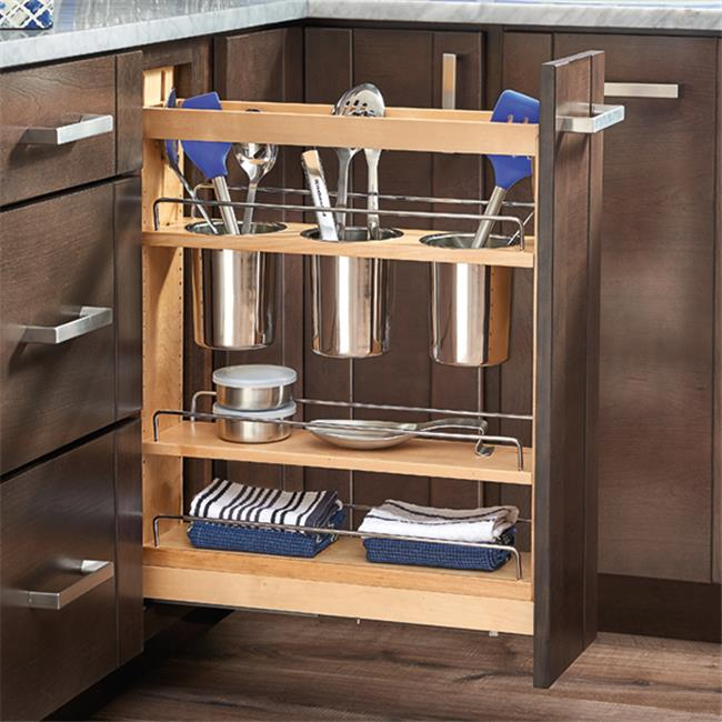 Rev A Shelf RS448UT.BCSC.5C Base 3 Utensil 2 Shelves Bins, 5.5 in. - Maple