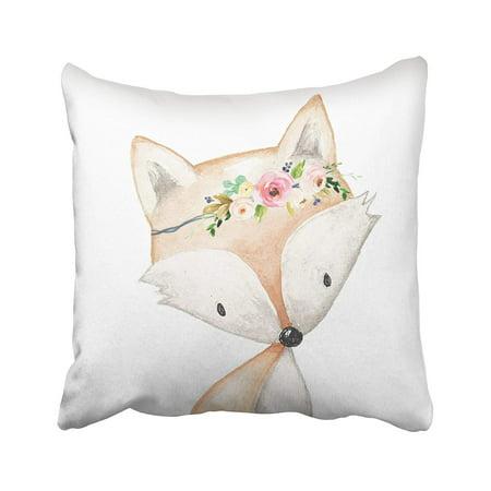 Bosom Baby Pillow - ARTJIA fox boho fox woodland baby girl nursery floral Pillowcase Pillow Cover 18x18 inches