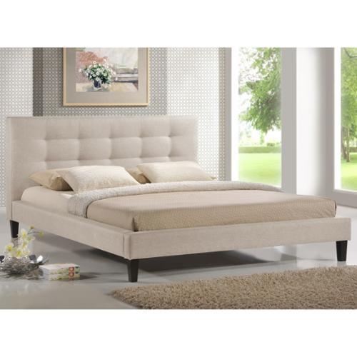 Quincy Dark Beige Linen Platform Bed