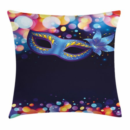 Venice Flower - Venice Throw Pillow Cushion Cover, Vivid Blue Carnival Mask with Ornate Flower and Colorful Dots Masquerade Tradition, Decorative Square Accent Pillow Case, 20 X 20 Inches, Multicolor, by Ambesonne