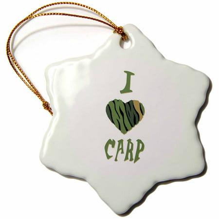 3dRose Camo Colored Striped I Love Carp - Snowflake Ornament, 3-inch (Striped Snowflake)