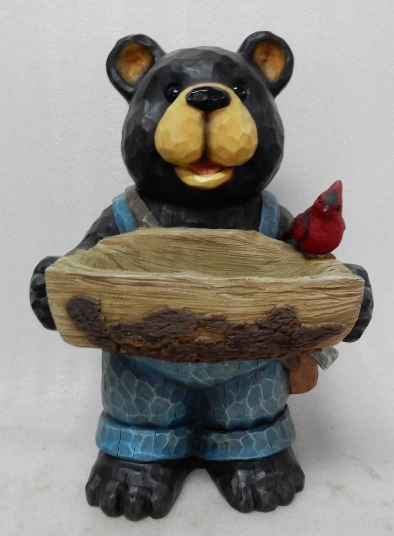 BEAR HOLDS Birdbath WITH CARDINAL by Hi-Line Gift Ltd.