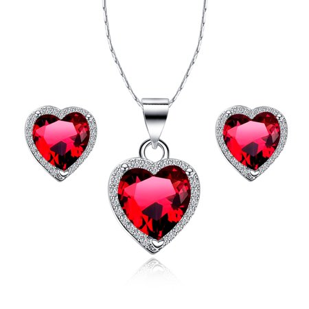3 Ct Heart Shape Garnet 18 Inch Necklace And Earring Set In 18k Gold