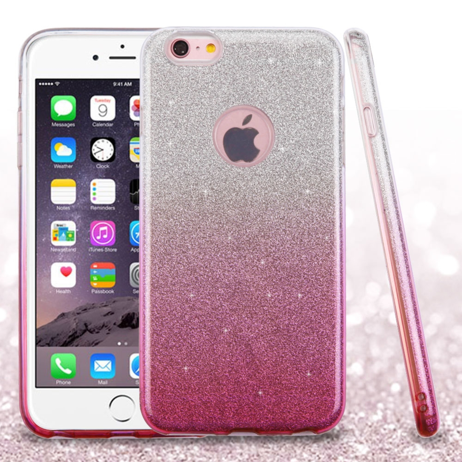 Insten Hard Dual Layer Glitter TPU Case For Apple iPhone 6s Plus / 6 Plus - Pink
