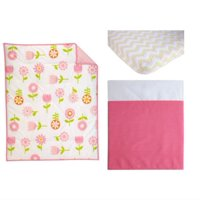 Nojo Reversible Floral Fusion/Pink with 3-Piece Crib Bedding Set