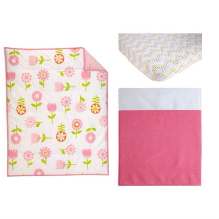 Little Bedding by Nojo Reversible Floral Fusion/Pink with Circles Print 3-Piece Crib Bedding Set ()