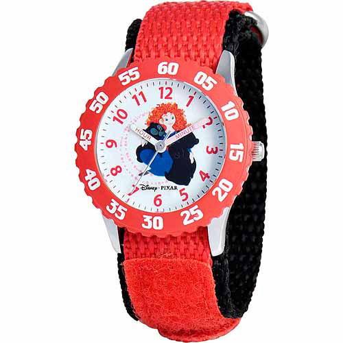 Disney Merida Girls' Stainless Steel Watch, Red Strap