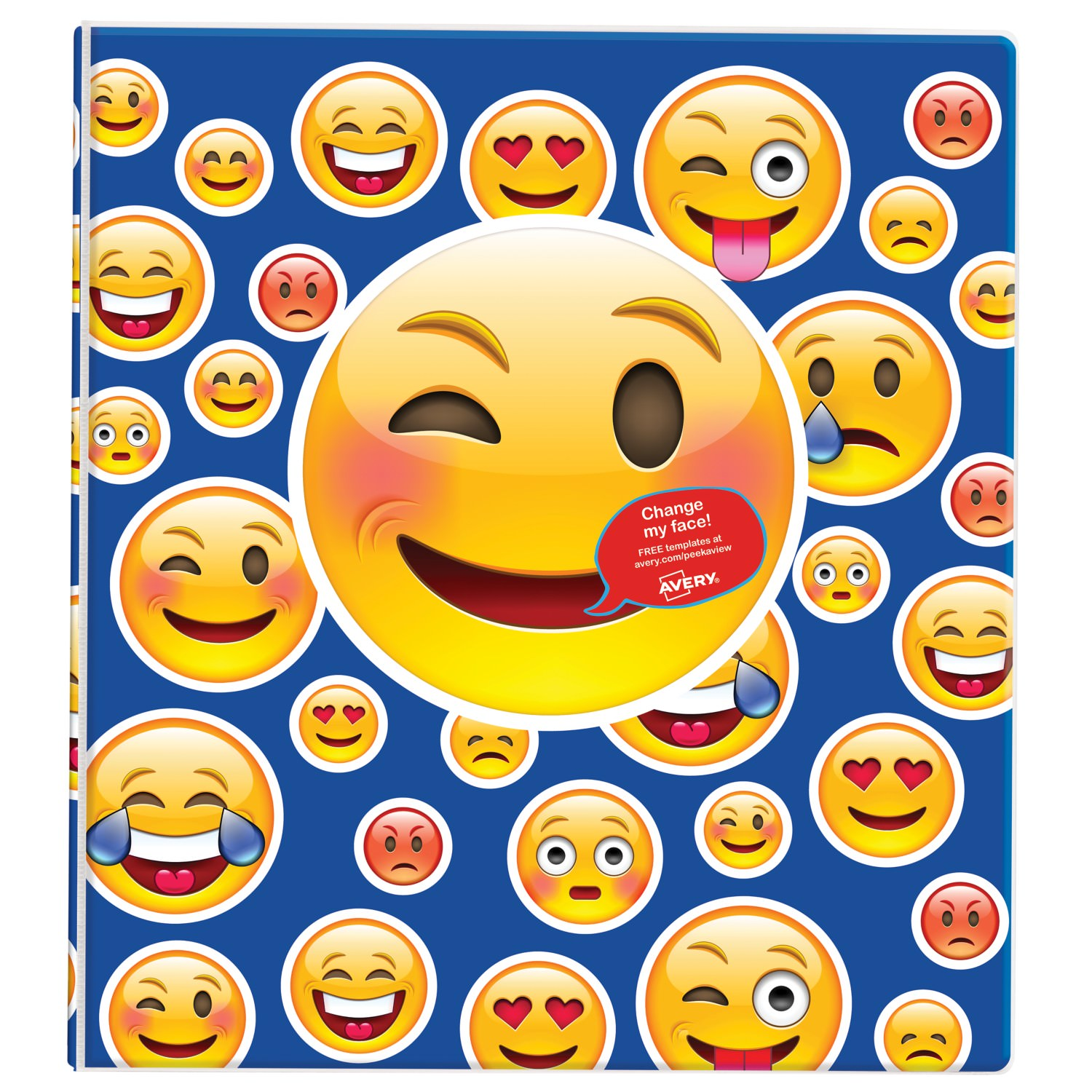 "Avery Peek a View Binder, 1"" Round Rings, 175-Sheet Capacity, Blue People Emoji"