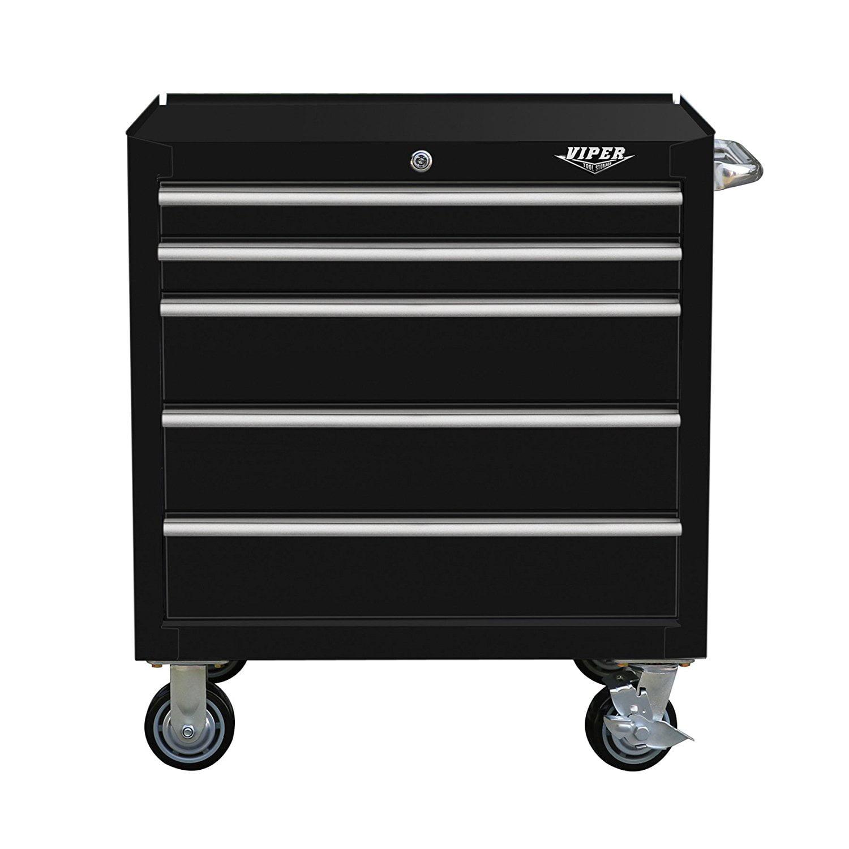 "Viper Tool Storage V3005BLR 30"" 5-Drawer Steel Rolling Cabinet, Premium Series, Black"